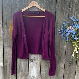 Vintage Express Beautiful Berry Beaded Cardigan L